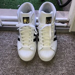 Adidas white high shell tops!